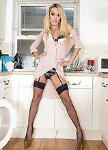 Beautiful British girl Mia Maffia returns in a hot kitchen scene! Mia has a sexy slim body, long slender legs, a sexy butt and a hot cock! Watch Mia s