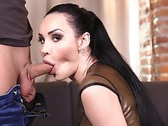 Kimber Lee in a casting couch fantasizing getting fucked hard in tight latex