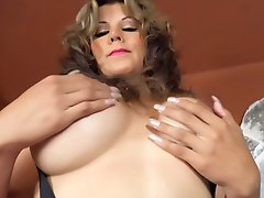 HUGE TITS TRANNY in pink stockings strokes and CUMS