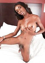 Watch black tgirl Kewi stroking her big cock until she pops a nice creamy load in this smashing solo scene!