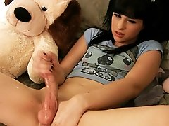 Naughty teenage shemale playing with her fat dick