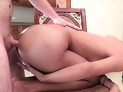Ladyboy Aeen bent over and cheeks spread for raw bareback sex