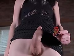 Mandy pops out her cock and pleasures herself until hot cum explodes