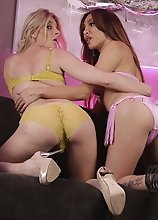 Hot tgirls Angelina & Eva go wild