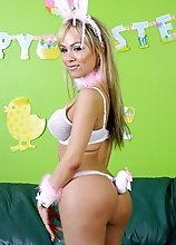 Easter is upon us and Celeste is dressed in her bunny best for the holiday and this famous tgirl has something special for you in her Easter basket! H
