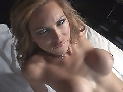 Hot SHEMALE Alessandra Blonde very excited with a great erection