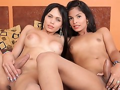 Watch these two sexy transsexuals Jessi Martinez and Sofia Obregon go at it!