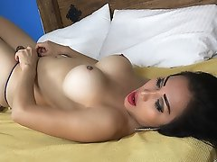 Busty Asian Shemale with a Vibrator in her ASS