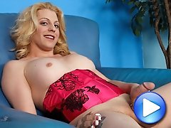 Beautiful blonde tgirl from Las Vegas returns to Shemale Yum!