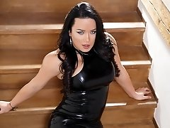 Bianka plays with her creamed dick while in her sexy latex and shoes