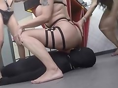 Nikki and her friends in Mexico ganging up, spitting, face sitting and group creaming a dominated guy