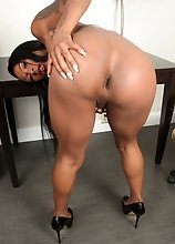 Black tgirl China Sweet Cheeks is just stunning! Watch her posing, stripping and stroking her cock in this hot solo scene!